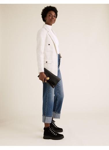 Marks & Spencer Yün Karışımlı Tüvit Blazer Ceket Beyaz